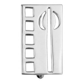 Mackintosh Tulip Silver Rectangle Brooch 0283